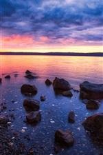Sunset, sea, stones, rocks, clouds, dusk