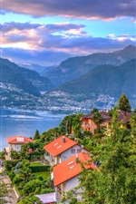 Preview iPhone wallpaper Switzerland, Maggiore, lake, houses, trees, Alps, clouds