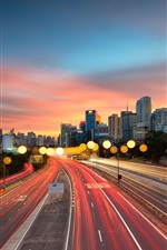 Preview iPhone wallpaper Sydney, road, lights, sunset, dusk, city
