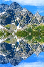 Preview iPhone wallpaper Tatra Mountains, lake, water reflection, trees, clouds, Poland