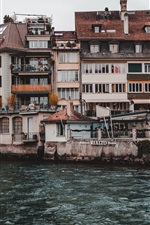 iPhone fondos de pantalla Thun, Suiza, pueblo, río, casas