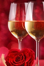 Preview iPhone wallpaper Two cups of champagne, romantic, rose, red background