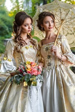 Preview iPhone wallpaper Two elegant girls, hairstyles, flowers, retro style dress