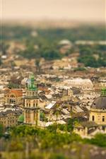 미리보기 iPhone 배경 화면 우크라이나, 도시 전망, 건물, 틸트 - 시프트 사진