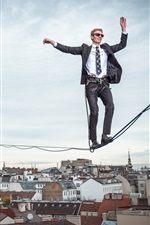Preview iPhone wallpaper Vienna, tightrope walker, man