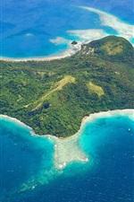Preview iPhone wallpaper Wakaya island, Fiji, sea, top view