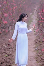 Preview iPhone wallpaper White dress Asian girl, pink flowers, spring