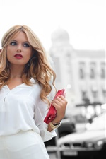 Preview iPhone wallpaper White dress girl, city, street