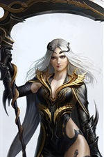 Preview iPhone wallpaper White hair fantasy girl, snakes, weapon