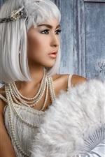 Preview iPhone wallpaper White hair girl, fan