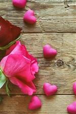 Preview iPhone wallpaper White, pink, red roses, love hearts