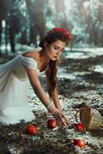 Preview iPhone wallpaper White skirt girl, apples, basket