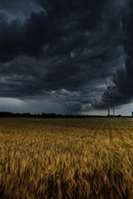 Preview iPhone wallpaper Windmill, fields, clouds, storm