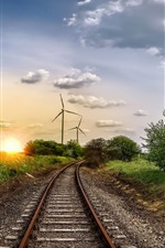 Preview iPhone wallpaper Windmill, railroad, trees, sunset, clouds