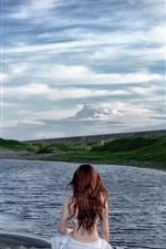 Preview iPhone wallpaper Windmills, girl back view, lake, clouds