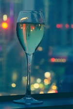 Preview iPhone wallpaper Wine, glass cup, night, city