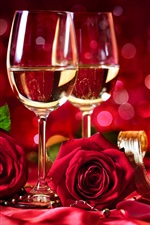 Preview iPhone wallpaper Wine, red roses, shine, red background, romantic