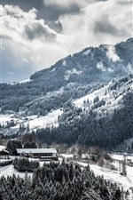 Preview iPhone wallpaper Winter, mountains, trees, snow, clouds, village