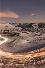 Winter, night, road, snow, light lines