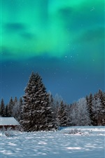 Preview iPhone wallpaper Winter, night, trees, house, snow, northern lights
