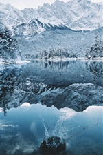 Preview iPhone wallpaper Winter, trees, snow, lake, water splash