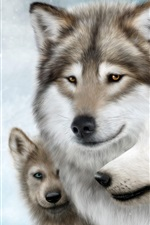 Preview iPhone wallpaper Wolf family, moon, snow, winter