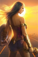 Preview iPhone wallpaper Wonder Woman, Gal Gadot, girl back view