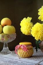 Preview iPhone wallpaper Yellow chrysanthemum, apples, jar, still life