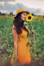 Preview iPhone wallpaper Yellow skirt girl and sunflower