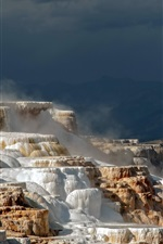 Preview iPhone wallpaper Yellowstone National Park, Wyoming, USA, terraces, mountains