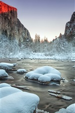 Preview iPhone wallpaper Yosemite National Park, Valley, river, snow, winter