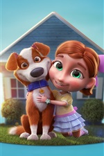 Preview iPhone wallpaper 3D cartoon, child girl and dog, house