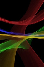 Preview iPhone wallpaper Abstract fractal lines, multicolor, black background