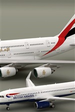 Preview iPhone wallpaper Airbus A380 and A320 planes