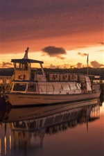 Ambleside, England, river, ship, sunset