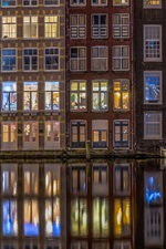 Preview iPhone wallpaper Amsterdam, Netherlands, houses, windows, river, night, lights