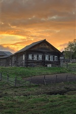 Preview iPhone wallpaper Arkhangelsk oblast, village, houses, grass, clouds, dusk, Russia