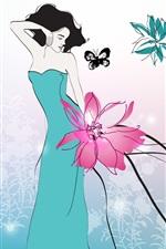 Preview iPhone wallpaper Art drawing, blue skirt girl, butterfly, flowers