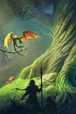 Fantasia de arte, dragão, árvore grande, pessoas