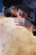 Asian girl and moon, art photography