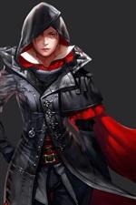 Preview iPhone wallpaper Assassin, fantasy girl, cape