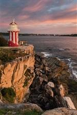 Preview iPhone wallpaper Australia, Stephen Port, lighthouse, sea, sunset
