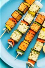 Preview iPhone wallpaper BBQ, skewers, kebab, blue plate