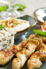 Preview iPhone wallpaper Barbecue, kebab, rice, food