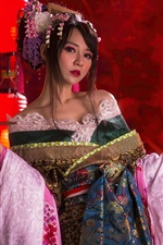 Preview iPhone wallpaper Beautiful Chinese girl, colorful dress, retro style