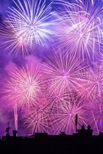 Beautiful fireworks, night, city