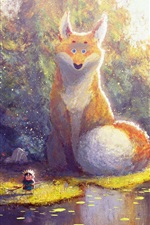 Preview iPhone wallpaper Beautiful painting, big fox and little boy
