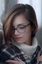 Beautiful young girl, glasses