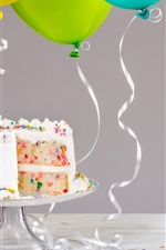 Preview iPhone wallpaper Birthday cake, candle, balloons, ribbon