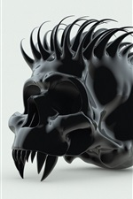 Preview iPhone wallpaper Black skull, spikes, white background